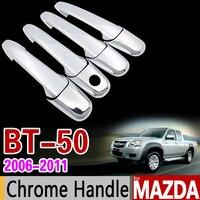 Para mazda BT 50 2006 2011 chrome lidar com capa guarnição conjunto bt50 bt 50 2007 2008 2009 2010 nunca ferrugem acessórios do carro estilo|car styling|car accessories|accessories car -