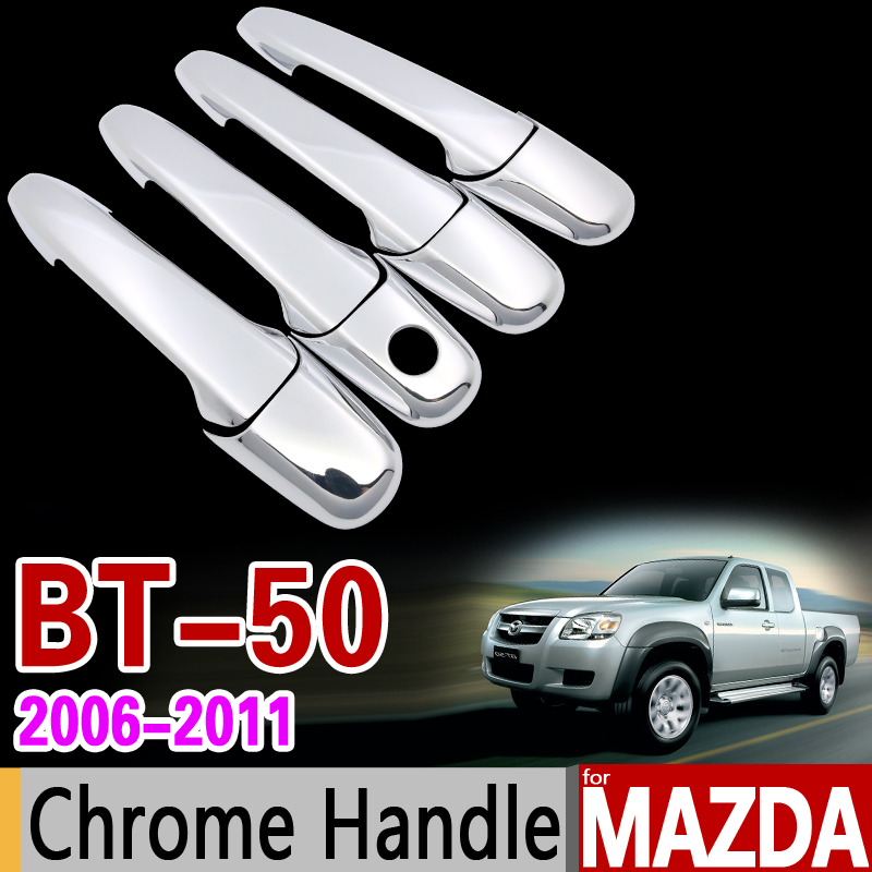 for MAZDA BT-50 2006-2011 Chrome Handle Cover Trim Set BT50 BT 50 2007 2008 2009 2010 Never Rust Car Accessories Car Styling car styling car auto accessories door handle cover trim protector cover for vw golf 6 2009 2010 2011 2012 abs chrome 8pcs