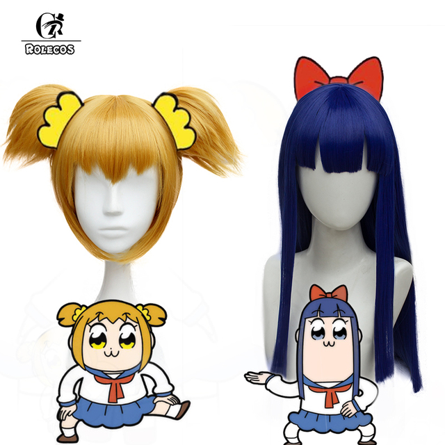 ROLECOS Poputepipikku Anime Cosplay Headwear Pop Team Epic Popuko Cosplay Synthetic Hair Pipimi Headwear
