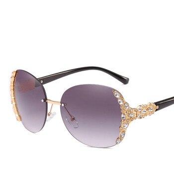 c08f30d022 Diamantes de imitación de cristal sin montura gafas de sol redondas de mujeres  Retro gafas de sol Vintage de lujo de marca de diseñador de mujer gafas
