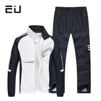 EU 2018 Men's Set Spring Autumn Men Sportswear 2 Piece Set Sporting Suit Jacket+Pant Sweatsuit Men Clothing Tracksuit Set