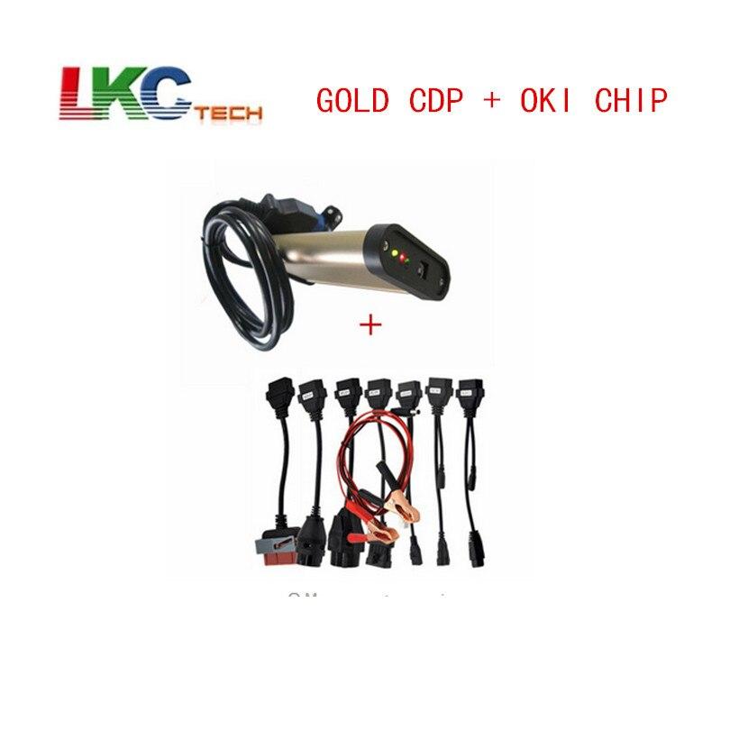 Date 2016.00 Or TCS CDP Avec bluetooth + OKI puce TCS CDP Pro + ensemble Complet 8 câbles de voiture auto outil de diagnostic OBD2 Scanner