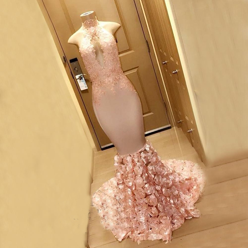 Pink Long   Prom     Dresses   2019 Sexy Mermaid Halter Keyhole Neck Lace Flowers African Party Formal Evening Gowns Robe de soiree