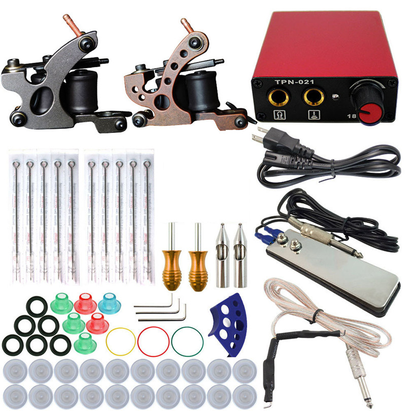 Tattoo Machine Professional Complete Tattoo Kit Set 2Pcs Coil Machine Guns Power Supply Foot Pedal Needles Grips Tips Body Art europe god of darkness robert recommend gp self lock grips gp3 professional tattoo artist grip