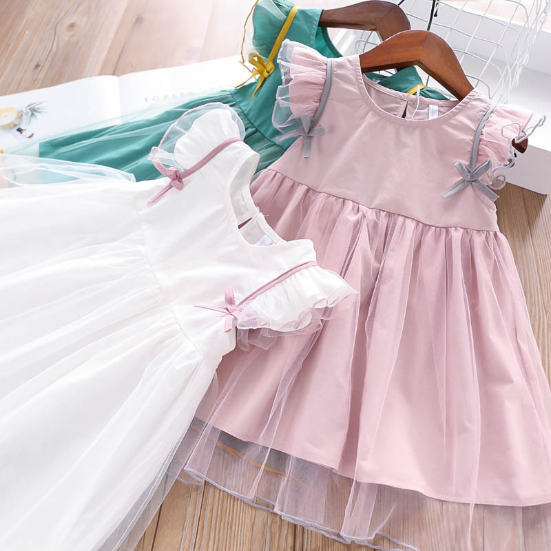 Girls Baby Bow Patchwork Tulle Fly Sleeve Princess Color Dress Pink White Green Color Summer Lovely Kids Ruffles New Dresses