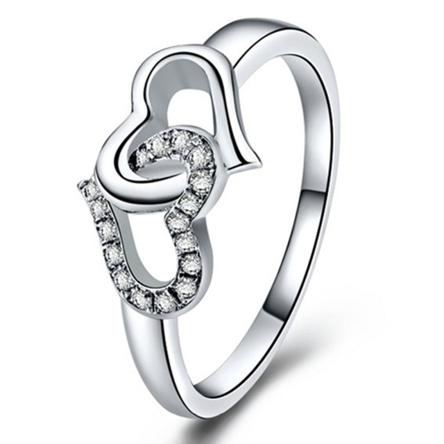 10716258e5bd OEM al por mayor de la fábrica Sona corazón doble combinado anillo de  diamantes de compromiso