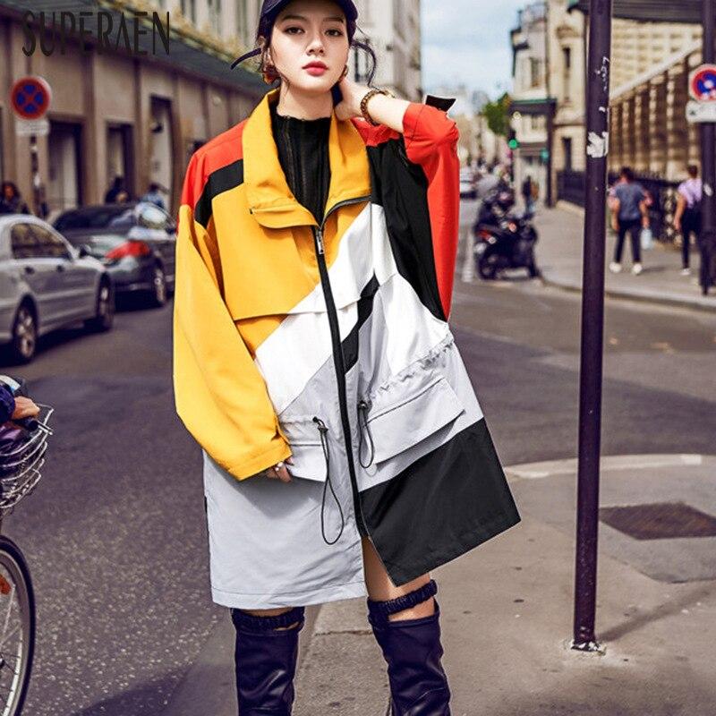 SuperAen Harajuku moda gabardina para mujer algodón salvaje Casual 2019 primavera talla cortavientos mujer suelta ropa de mujer-in chaquetas básicas from Ropa de mujer    1