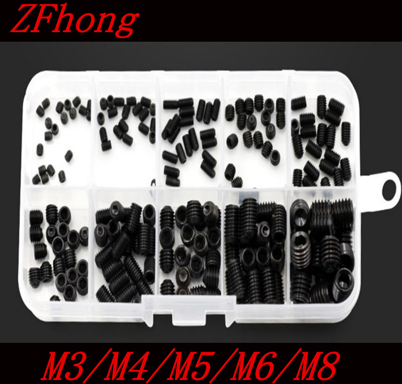 200PCS DIN916 M3 M4 M5 M6 M8 Black Socket Screw Assortment Allen Head Socket Hex Set Grub Screw Box Kit m4 m4 10 m4x10 m4 16 m4x16 316 stainless steel 316ss din916 inner hex hexagon socket allen head grub cup point set screw