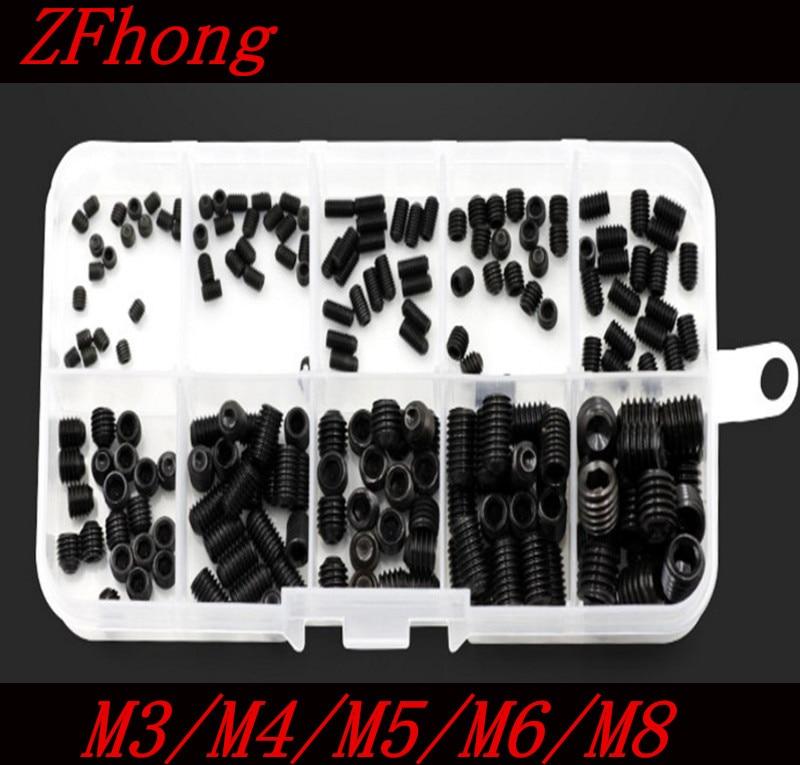 200PCS DIN916 M3 M4 M5 M6 M8 Black Socket Screw Assortment Allen Head Socket Hex Set Grub Screw Box Kit