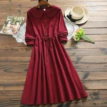 fac47529341f2 Mori Girl Bordeaux Red Corduroy Dress New Autumn Winter Women Peter Pan  Collar Long Sleeved Long