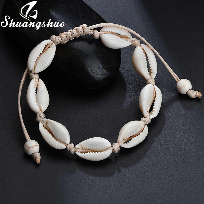 Shuangshuo ファッションナチュラルシェルアンクレットシェルロープ足首女性のための貝殻脚ブレスレットビーチジュエリー enkelbandje