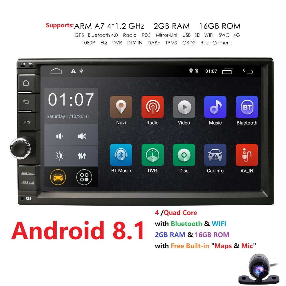 Double 2 DIN 10.1/'/' HD Android 8.1 BT Quad Core Car Stereo GPS FM Radio Unit+CAM