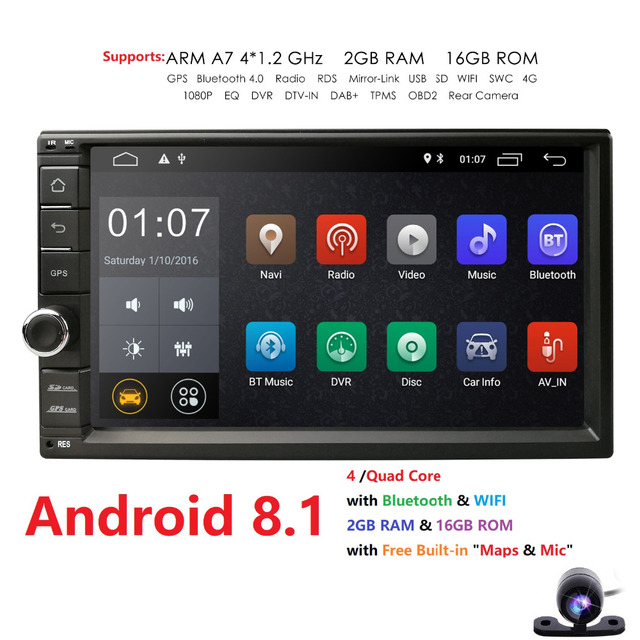 Free Camera Android 8.1 2GB RAM 1024*600 Car GPS 2Din Radio Universal Car DVD Player Double Din Stereo GPS car radio 4G WIFI CAM
