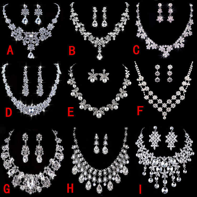 SHOSIXUAN High Quality Silver Luxury Oversize Crystal Wedding Jewelry Sets Hollow-out Flower Necklace&Earrings Set For Woman