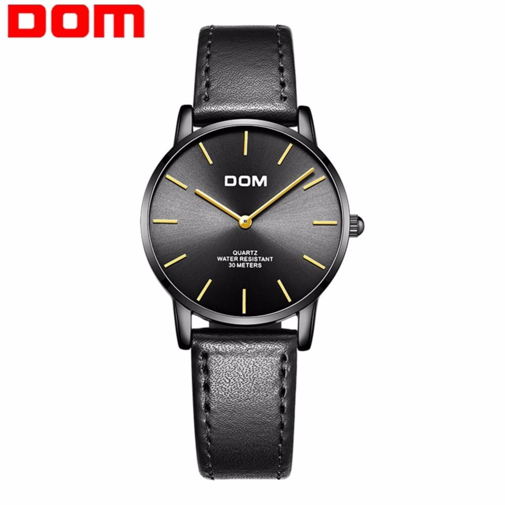 DOM Fashion Women Watch Top Luxury Brand Black Watches Ladies Leather Waterproof Ultra thin Quartz Wrist Watch femme G-36BL-1MT