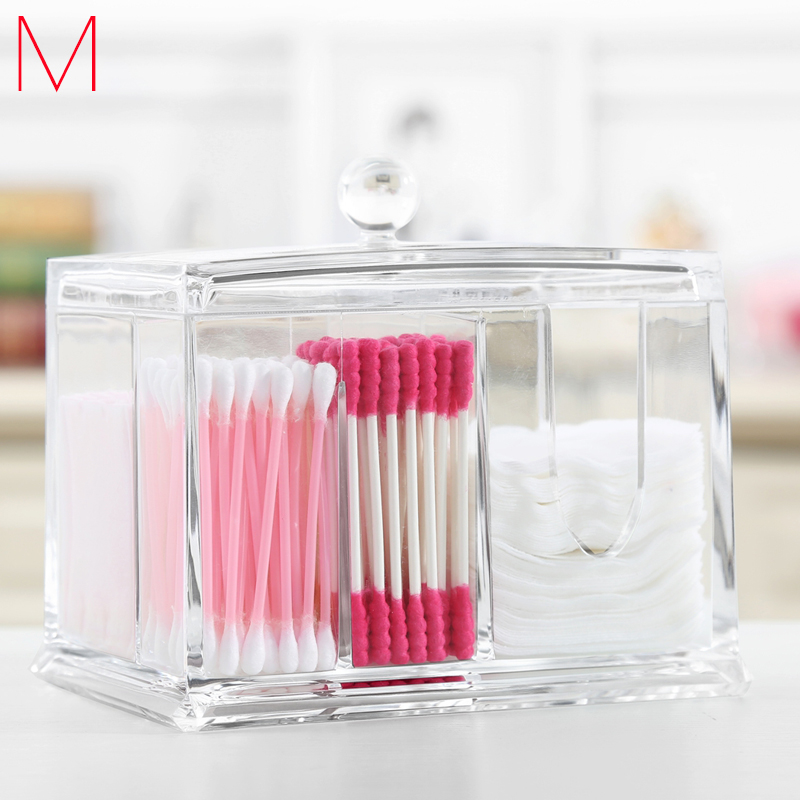 2aea94b511a1 US $14.53 13% OFF|M Cotton Swab Box Cosmetics Organizers Acrylic Clear  Makeup Organizer Transparent Cosmetic Containers Puff Storage C56-in  Storage ...