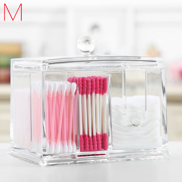 M Cotton Swab Box Cosmetics Organizers Acrylic Clear Makeup Organizer  Transparent Cosmetic Containers Puff Storage C56