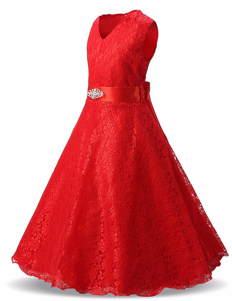 Red Lace Flower Dress For Girl Wedding Party Teenagers Girl Dress ...