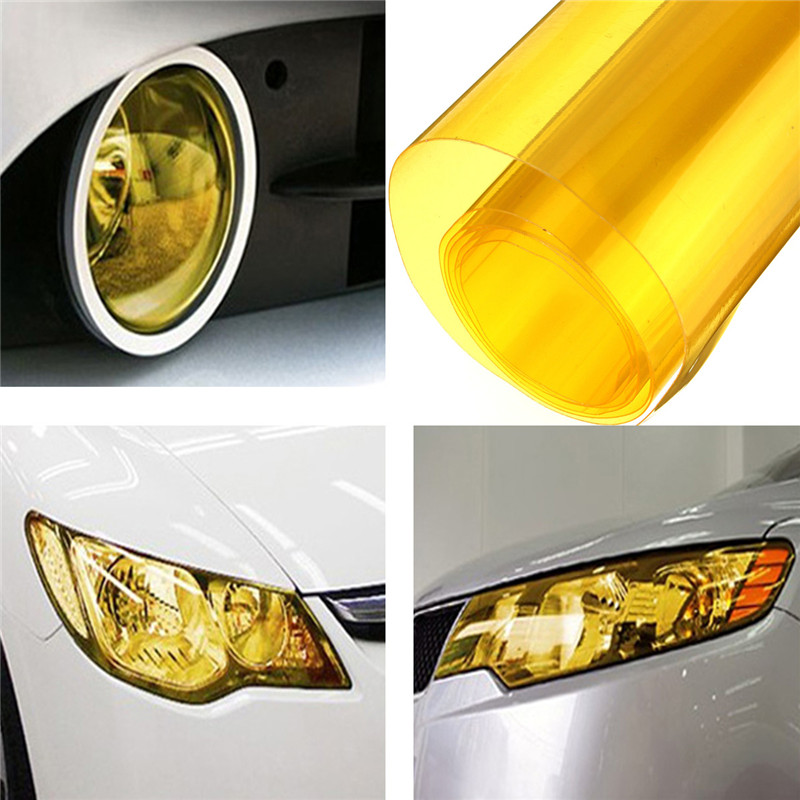 "N 12/"" x 24/"" In Yellow Tint Headlights Tail Lights Fog Lights Vinyl Wrap Film"