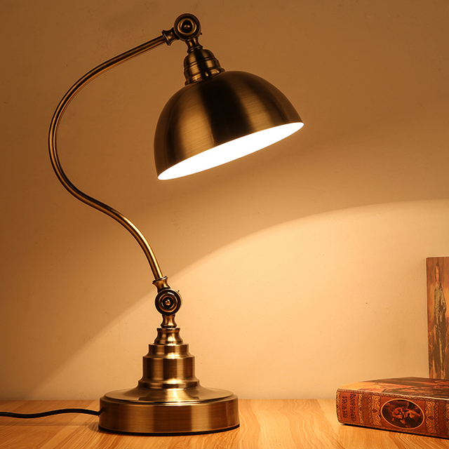 led work lamp lighting light office desk lamp european style bronze