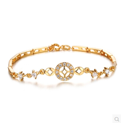 Luxury 18k Real Gold Plated Women Wedding Bracelet Simple Design Aaa White Cz Diamond Crystal Wrist