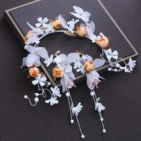 Artificial Flower Headband White Yarn Butterfly Headpiece Hair Accessories Wreath Wedding Bridal Hairband with Drop Earrings New