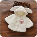 Autumn Winter Baby Girl Infants Fleece Faux Fur Rabbit Hooded Double Breasted Cloak Cape Kids Jacket Coat Cardigan Outwear S4083