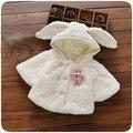 Outono Inverno Da Menina Bebê Crianças Velo Coelho Da Pele Do Falso Com Capuz Double Breasted Cape Casaco Crianças Jaqueta Casaco Cardigan Outwear S4083