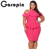 Gosopin Plus Size Summer Office Ladies Dress 2018 Cold Shoulder Peplum Bodycon Dress Sexy Party Dress