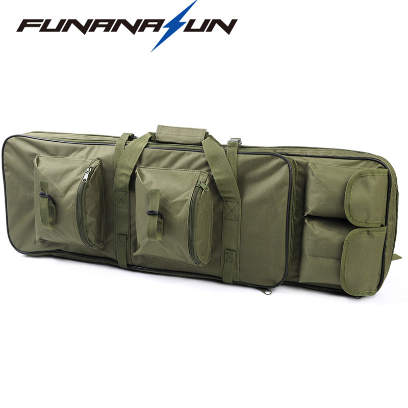 100cm Military Double Rifle Backpack Shotgun Square Carry Large Bag Gun Protection Case with Molle Magazine Pocket Pouch