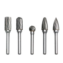 Carbide Burrs 5pcs 10mm Dia 6mm Shank Double Cut Tungsten Rotary File Cutting Burs Tool Drill Die Grinder Bits