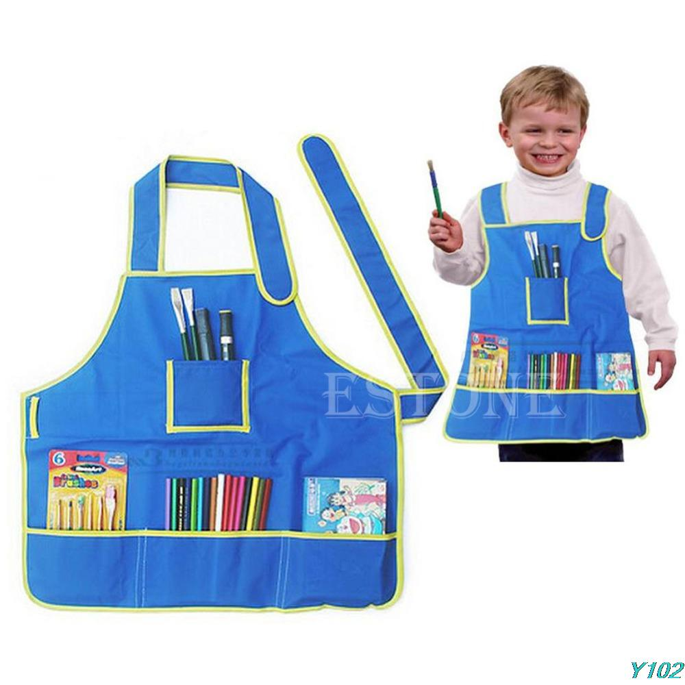 Y102 Free shipping Children's Craft Apron Smock with 4
