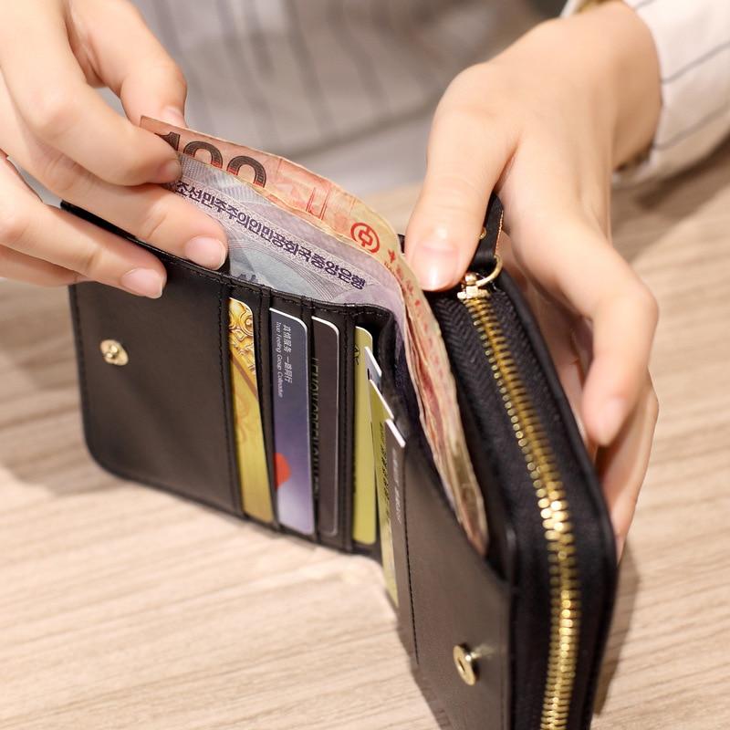 Zipper Wallet Purses Card-Holder Short Plaid Female Small Women Nubuck Fashion