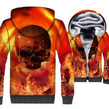 Flame Skulls Hoodies 2018 New Winter Zipper Mens Jacket Streetwear 3D Print Tracksuit Harajuku Unisex Thick Fleece Coat For Men