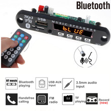 5V 12V Handsfree Bluetooth Car Radio Mp3 Player decoder Board Support Recording FM TF card AUX With MIC Car Speaker Modification