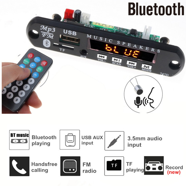5V 12V Vivavoce Bluetooth Auto Lettore Radio Mp3 Scheda di decodifica Supporto di Registrazione FM carta di TF AUX Con MICROFONO Altoparlante Per Auto di Modifica