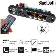 Rádio mp3 player para automóveis, 5v 12v, bluetooth, mãos livres, placa decodificadora, suporte para gravação, fm, tf card, aux com modificação de alto falante de carro microfone