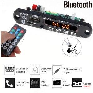Image 1 - Reproductor Mp3 de Radio para coche con Bluetooth, tarjeta de grabación FM, TF, AUX, con micrófono, modificación de altavoz de coche, 5V 12V, manos libres