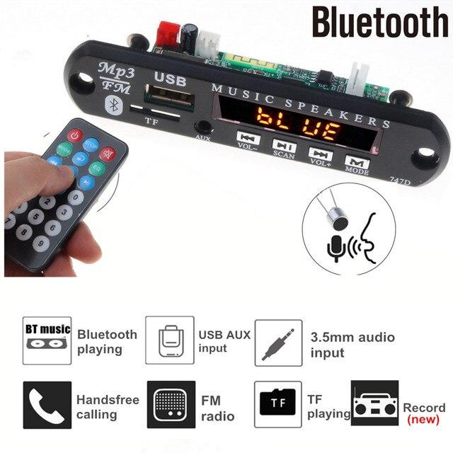 Reproductor Mp3 de Radio para coche con Bluetooth, tarjeta de grabación FM, TF, AUX, con micrófono, modificación de altavoz de coche, 5V 12V, manos libres