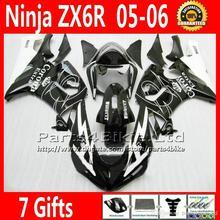 Customize Corona black Fairings + Seat cowl for Kawasaki ZX6R 636 2005 2006 motorbike fairing kit 05 06 NQ21