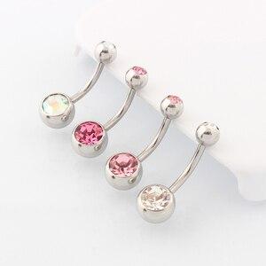 Image 3 - Medische Staal (100 Stuks/partij) buik Navel Button Rings Body Piercing Sieraden Groothandel 14G Chirurgisch Staal Met Dubbel Kristal