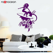 Surfing Surfer Sexy Girl Water Sports Flowers Wall Stickers Vinyl Home Decor Living Room Decals Removable Interior Mural 3466