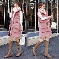 New Winter Women Long Down Cotton Vest Coat Warm Thicken Velvet Vests Jacket Female Sleeveless Waistcoat Outwear Plus Size A1163