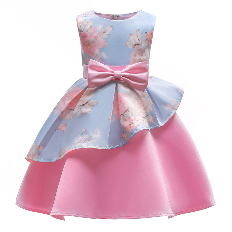 Fashion Princess Dress Floral Print Girls Dress Sleeveless Wedding Party Dresses Bow Girls Ruffle Outfits Children's Clothing kids dresses for girls 2017 girls dresses in black and white floral print dress bow sleeveless tutu teenagers girls clothing 12