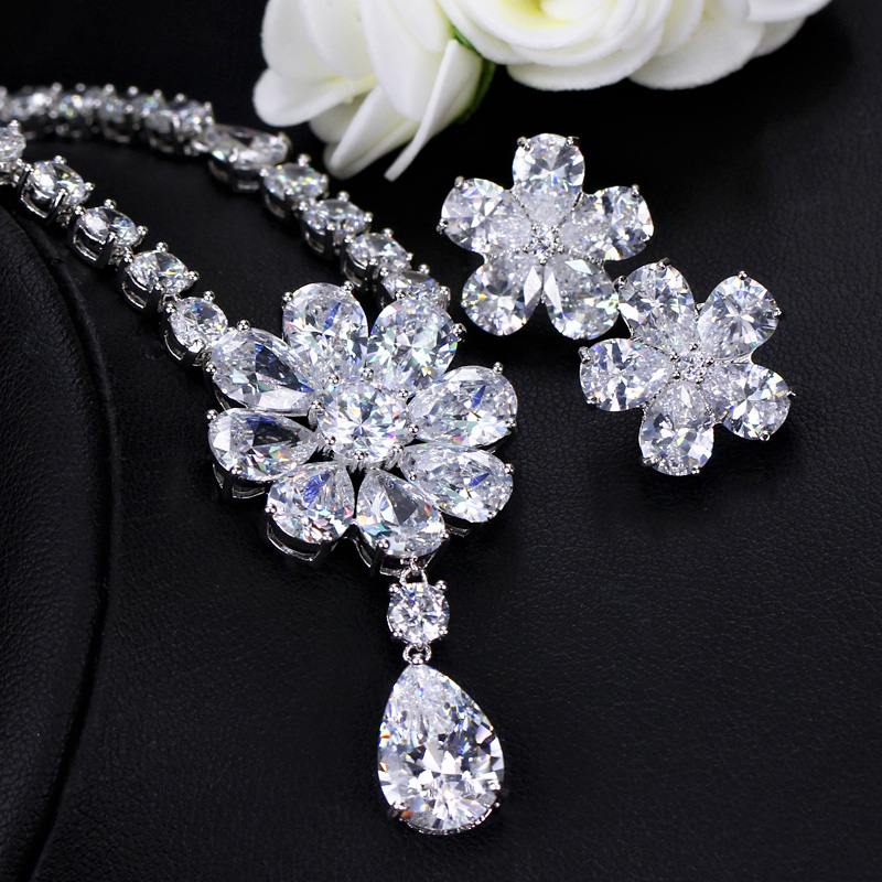 Image 4 - CWWZircons High Quality Bridal Wedding Party Jewelry Dazzling White Cubic Zirconia Flower Necklace Earrings Sets For Women T300Bridal Jewelry Sets   -