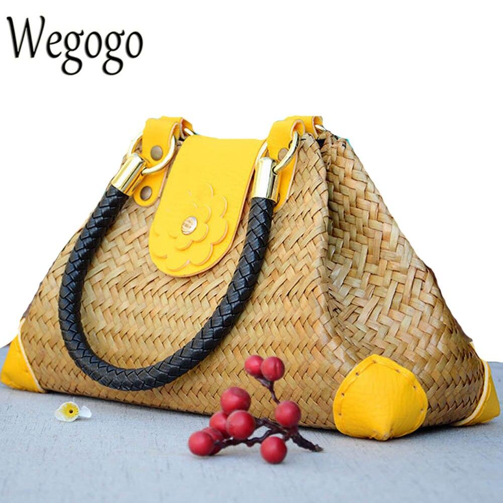 Thailand Women Straw Bags Handmade Beach Bag Ladies Travel Handbags Weave Straw Totes Shoulder Bag Knitting Rattan Bags fabric bags shoulder straw summer of women fabric crossbody bags canvas jute beach travel bag