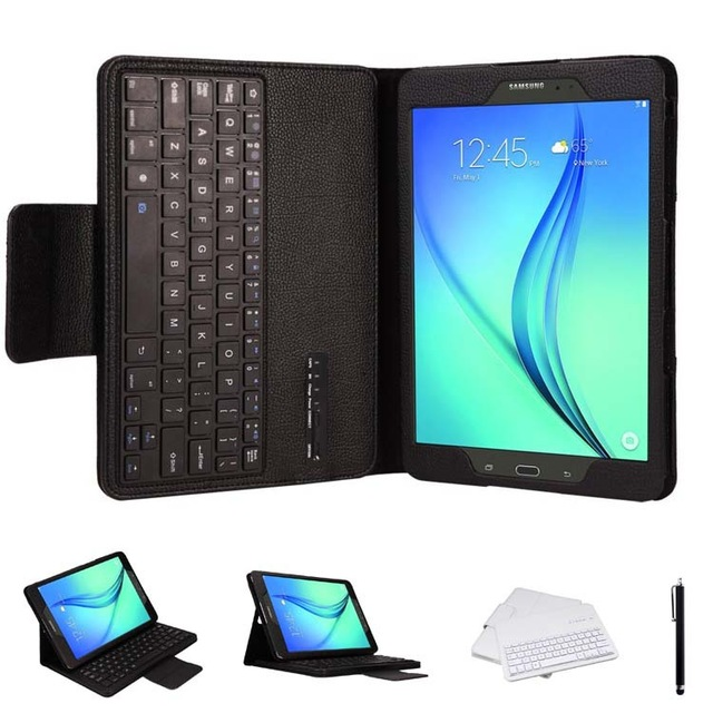 For Samsung Galaxy Tab A 9.7 Inch Tablet T550 T551 DETACHABLE QWERTY Wireless Bluetooth Keyboard Portfolio Leather Stand Case portable wireless bluetooth keyboard case for sumsung galaxy tab a 9 7 t550 t555 9 7 inch tablet pc free shipping gift