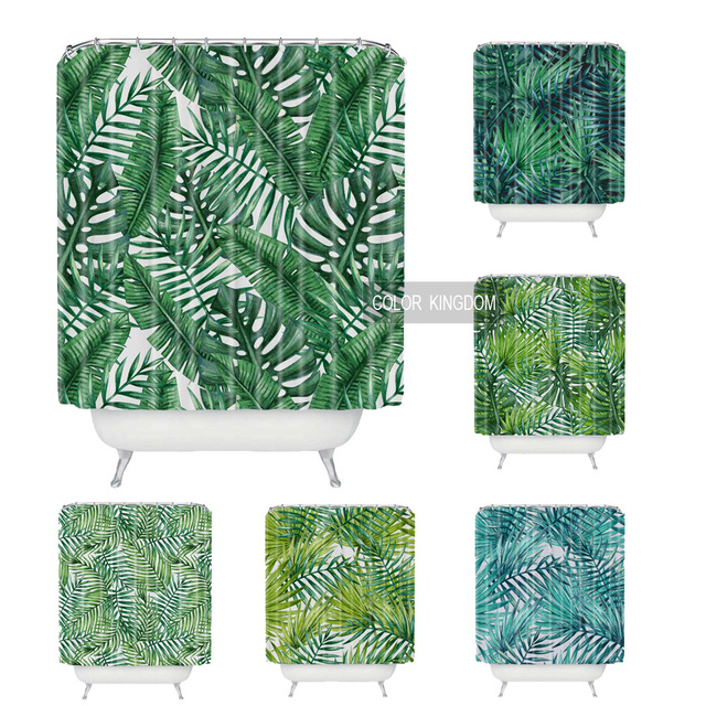 Sweetenlife Tropical Shower Curtain Polyester Fabric Simple Bathroom Curtain  Designs Green Plants Curtains Bath Waterproof 180CM