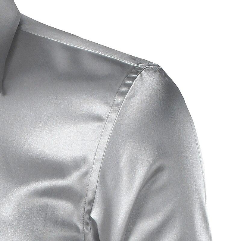 Silk Shirt Men 2017 Satin Smooth Men Solid Tuxedo Shirt Business Chemise Homme Casual Slim Fit Shiny Gold Wedding Dress Shirts 6