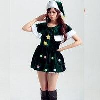 New Santa Claus Xmas Dress Adult Women Party Dress Sexy Green Shawl Cute Christmas Halloween Costume